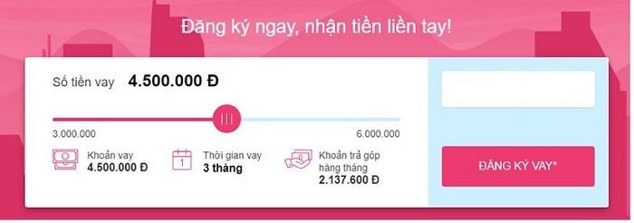 Chọn số tiền muốn vay tại ATM Online