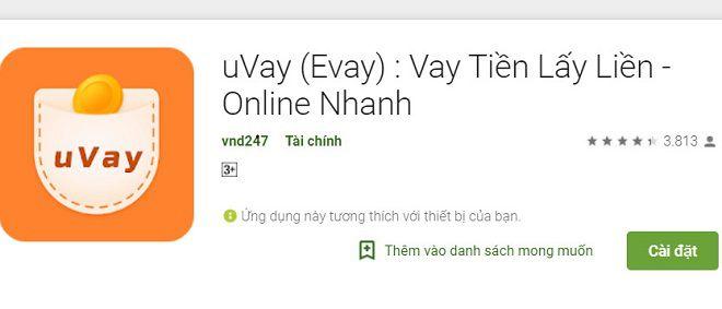 Ứng dụng vay tiền nhanh Evay (Uvay)