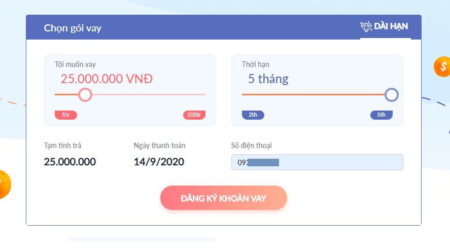 Vay tiền Lenbox trên website