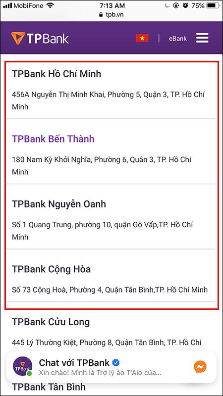 Tra cứu chi nhánh TPBank