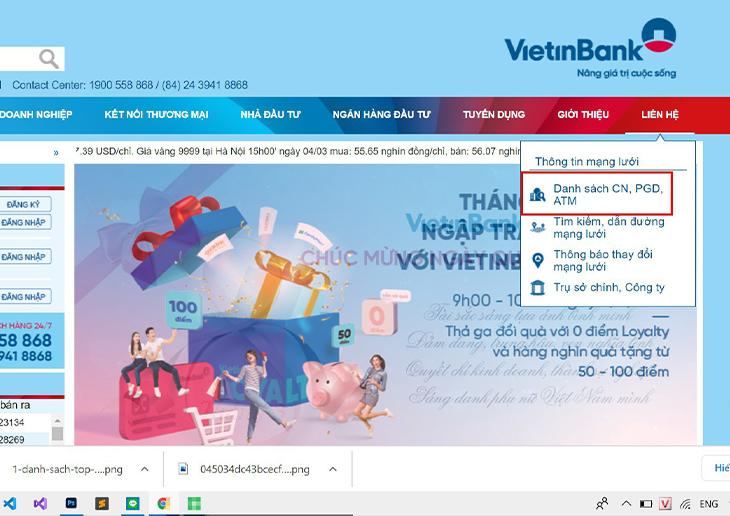 tra cứu chi nhánh Vietinbank